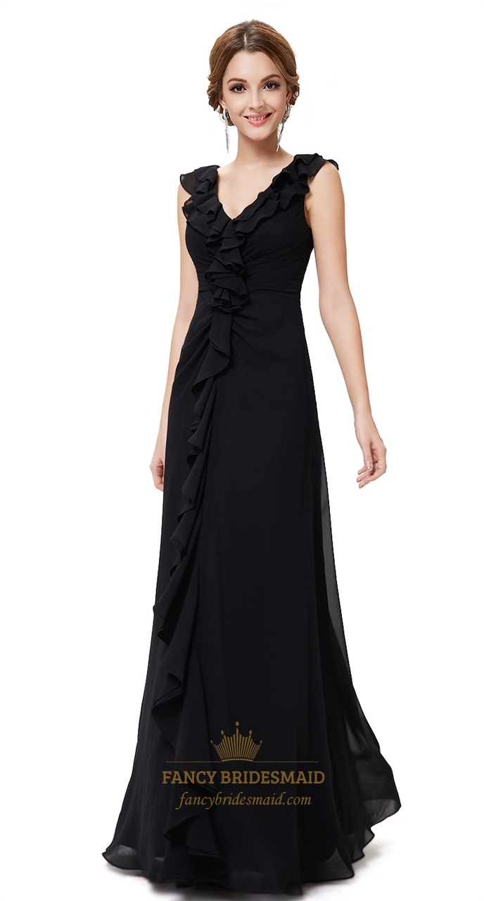 Black Floor Length Chiffon Dress,Beautiful Black Evening Gowns With ...