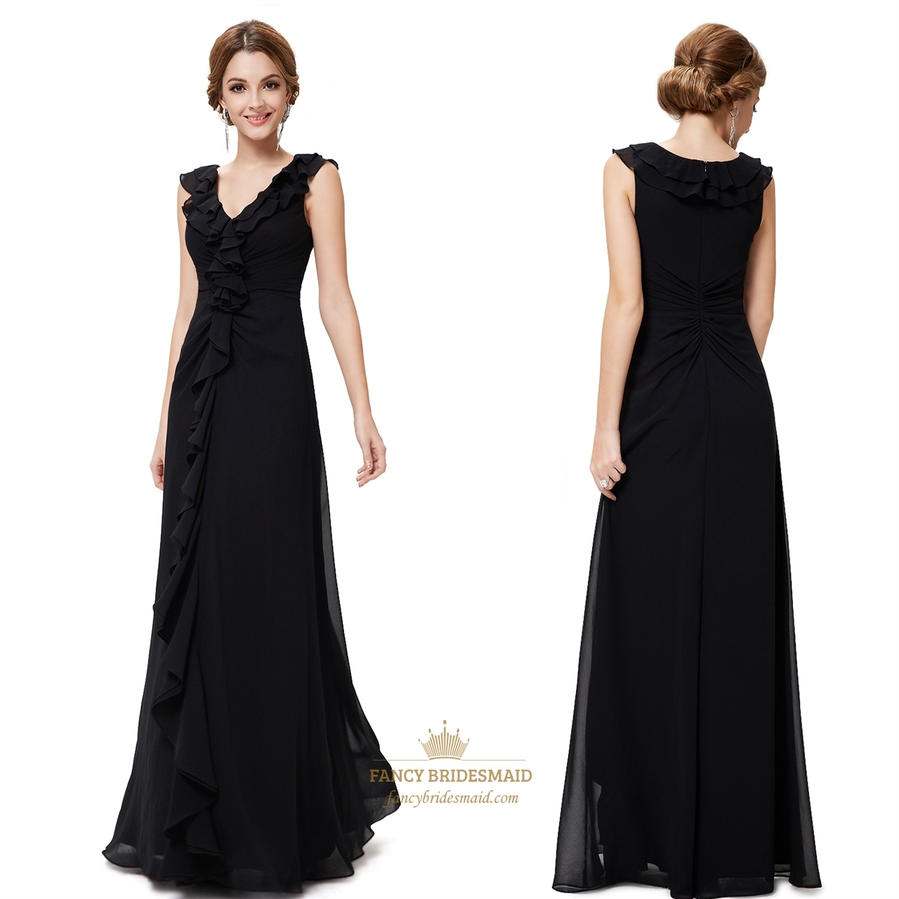 Black Bridesmaid Dresses With Cap Sleeves : Black floor length chiffon dress beautiful evening
