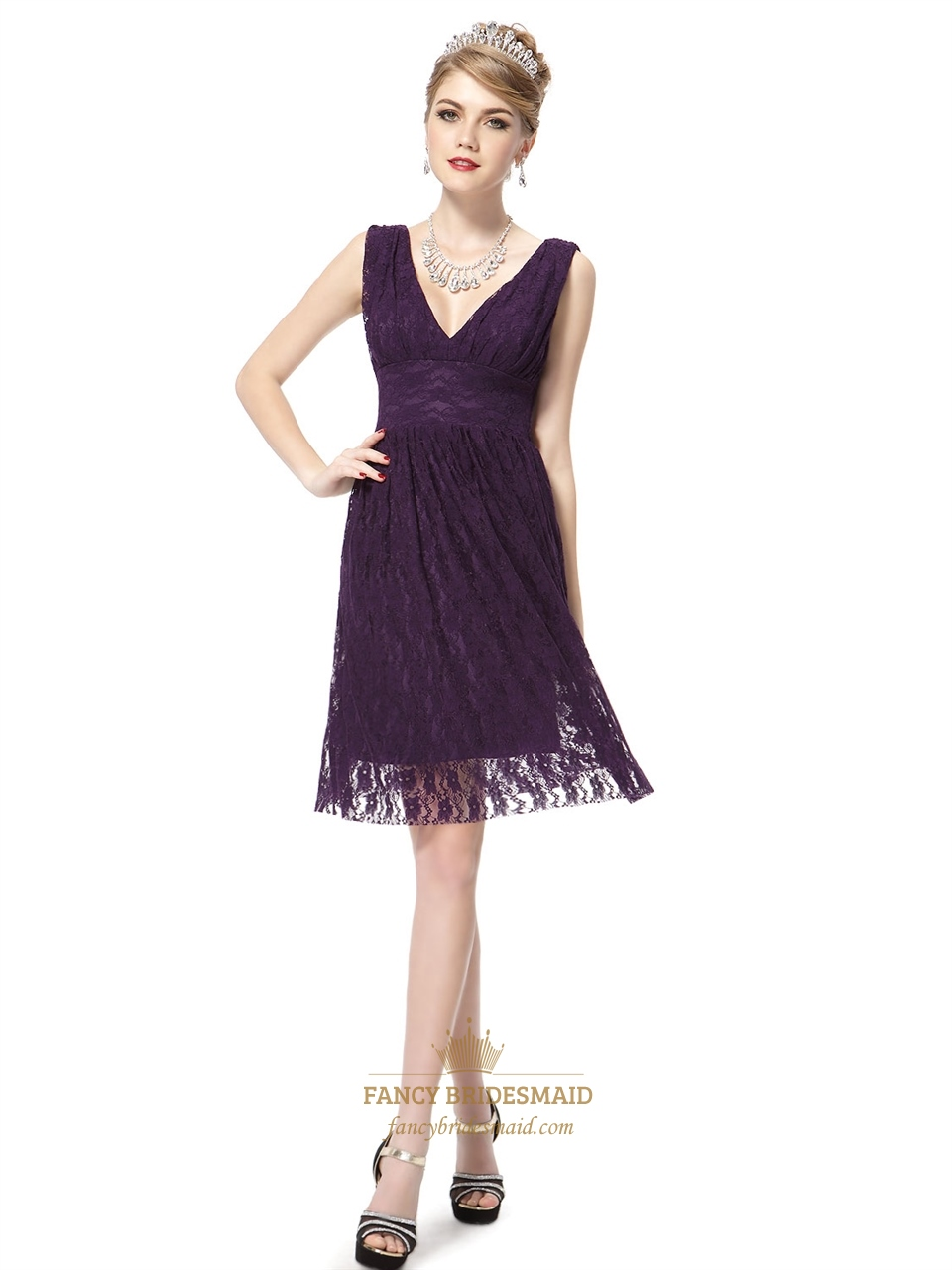 Short dark purple prom dresses purple cocktail dresses for Purple lace wedding dress