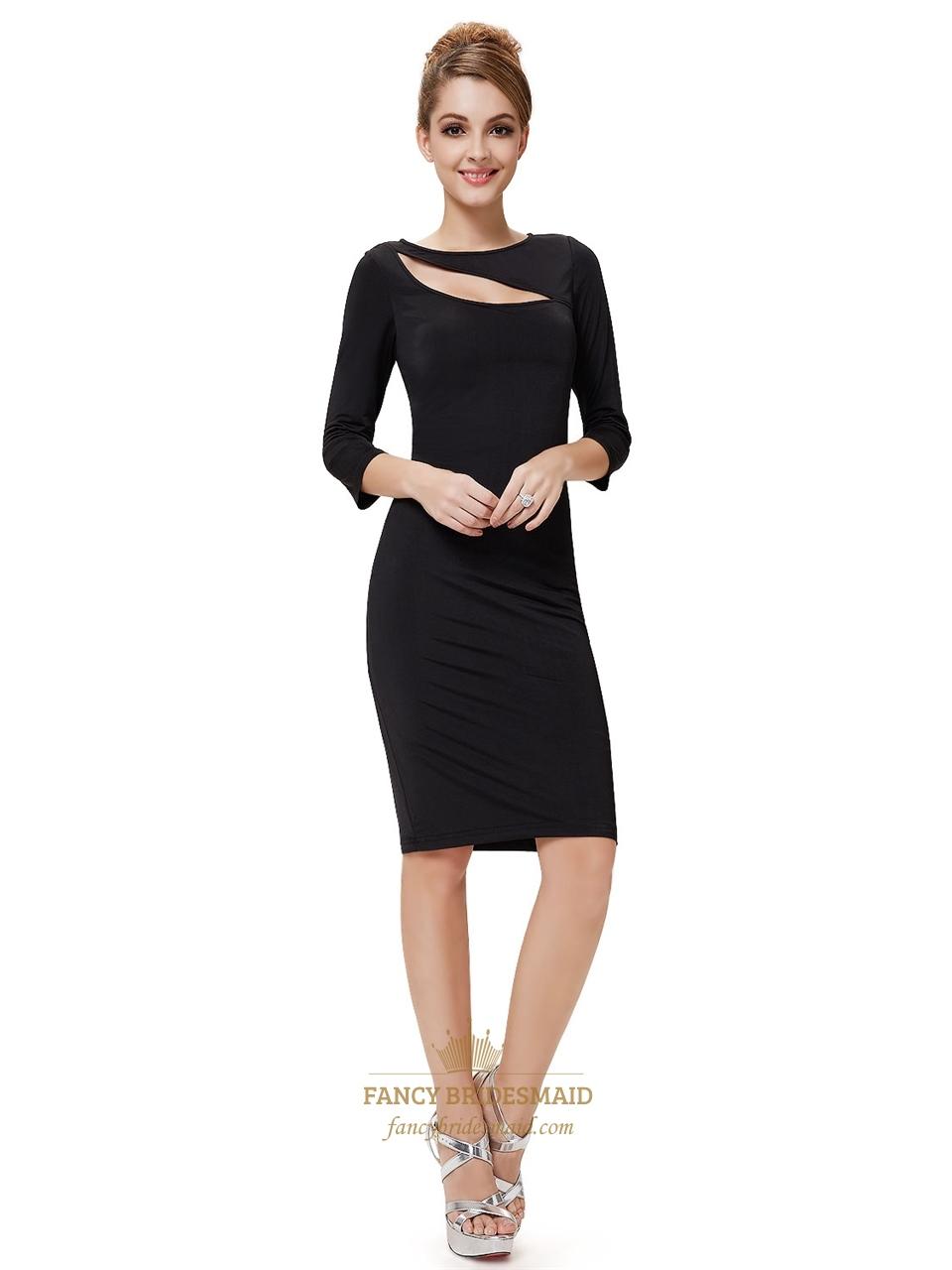 e72a6c25d732 Black Mini Dress With Long Sleeves