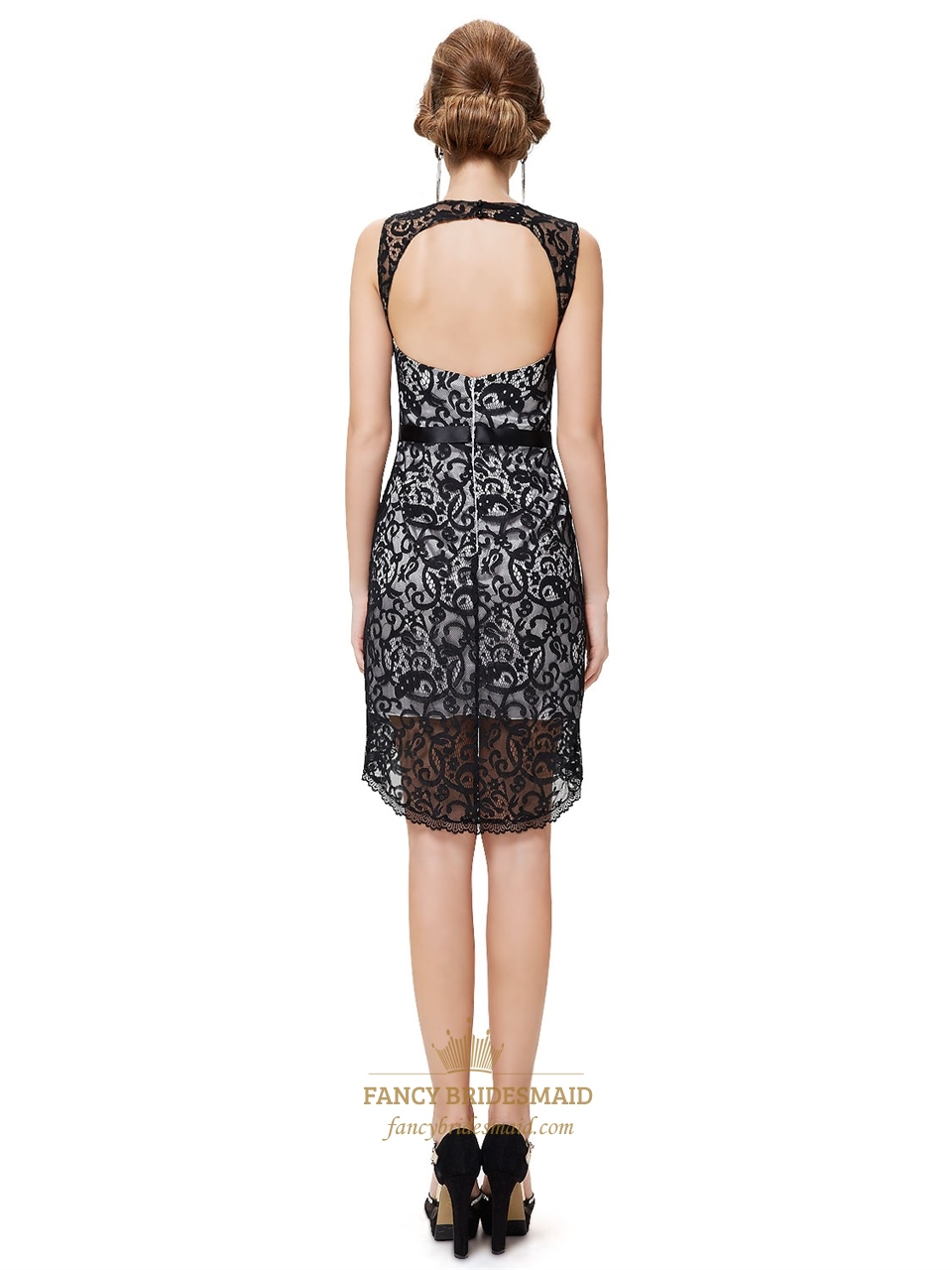 black and white lace dress with open backshort white and