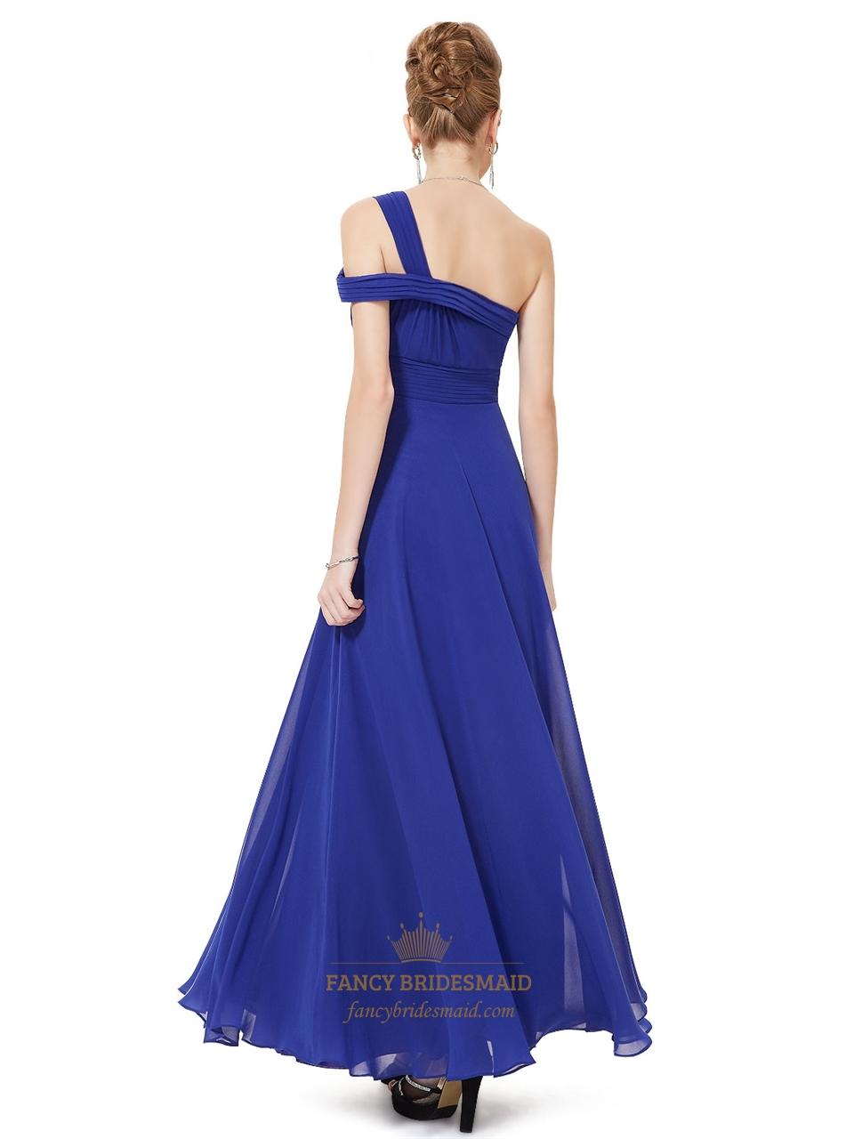 Dresses One Shoulder Royal Blue Bridesmaid Evening Prom Ball Dress OneOne Shoulder Royal Blue Bridesmaid Dresses