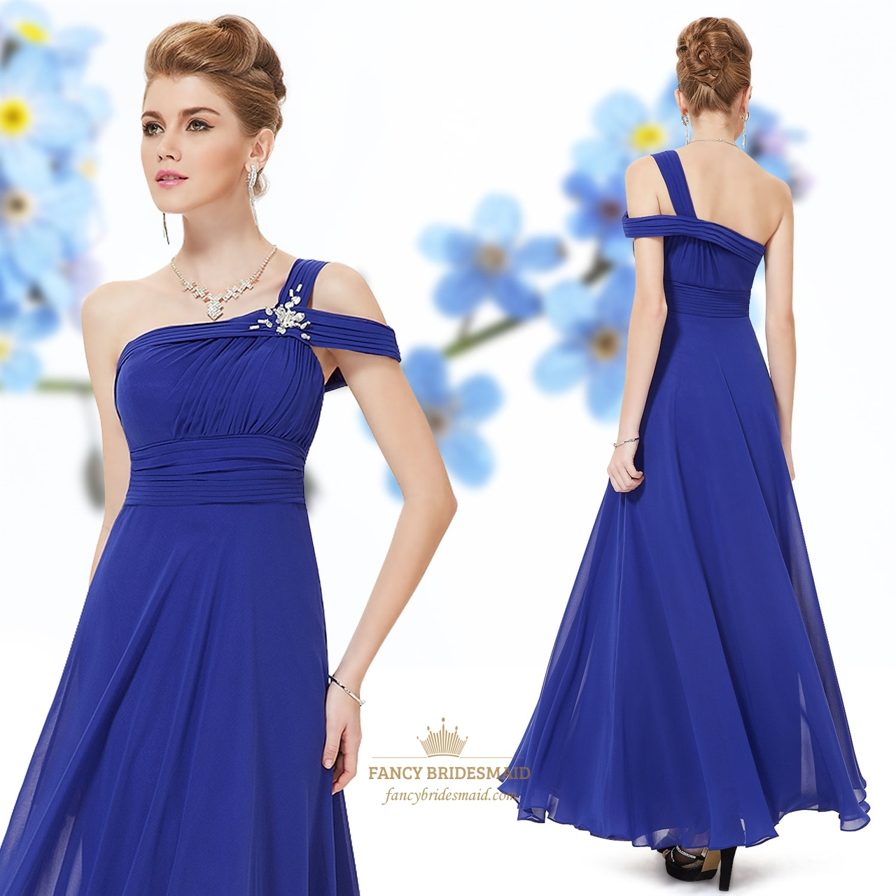 one shoulder royal blue bridesmaid evening prom ball dress