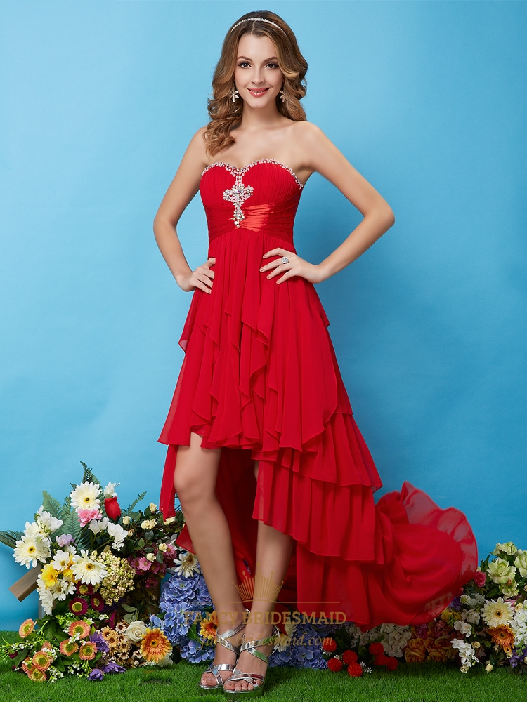 Red Prom Dresses 2016 High Low - Holiday Dresses