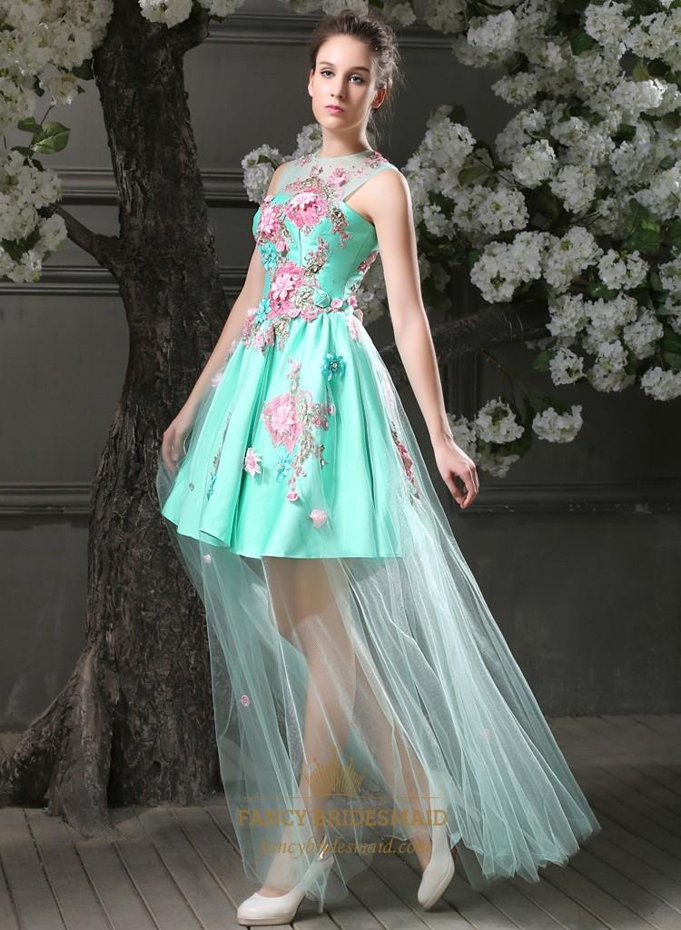 Elegant Aqua Blue Short Mini Bridesmaid Gowns Floral A
