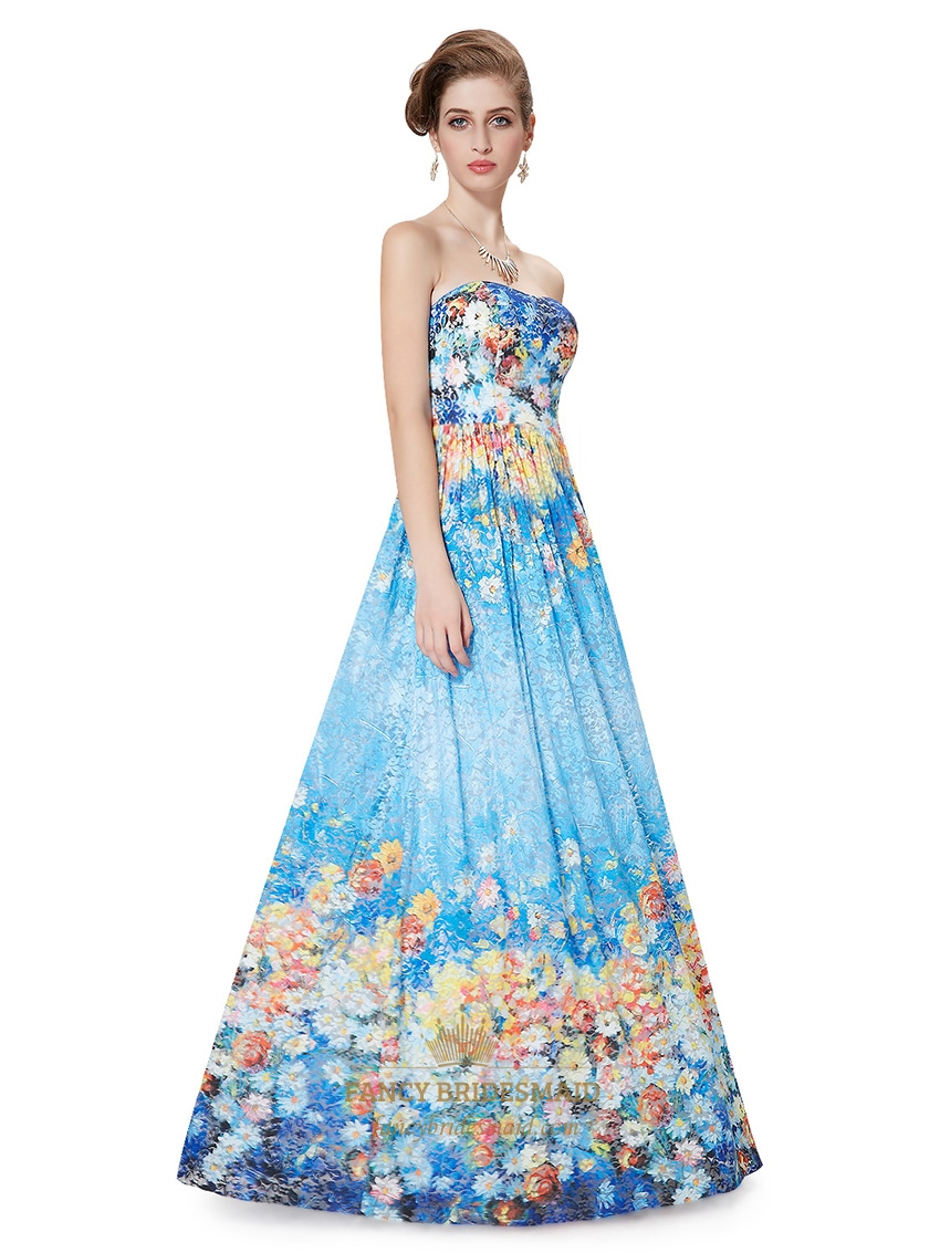 Blue Floral Print Bridesmaid Dresses,Strapless Padded ...