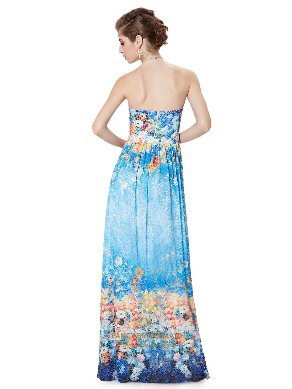 Blue Floral Print Bridesmaid Dresses Strapless Padded