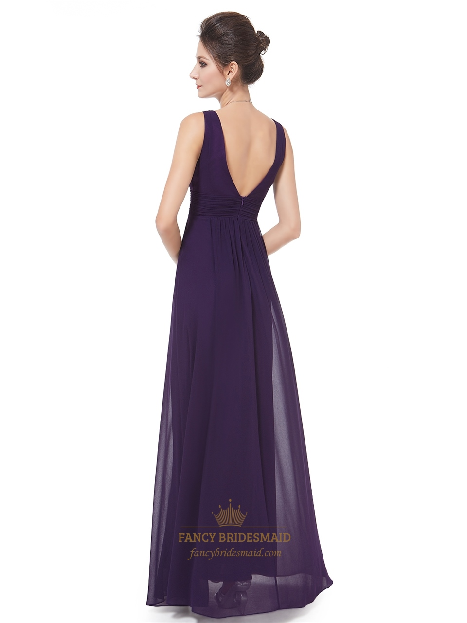 Dark Purple Chiffon Bridesmaid Dresses,Plum Chiffon V-Neck ...