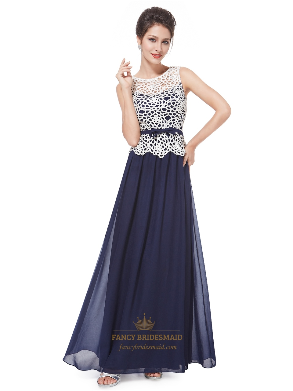 Blue Prom Dress With White Lace Top,Women\'s Sleeveless Illusion Long ...