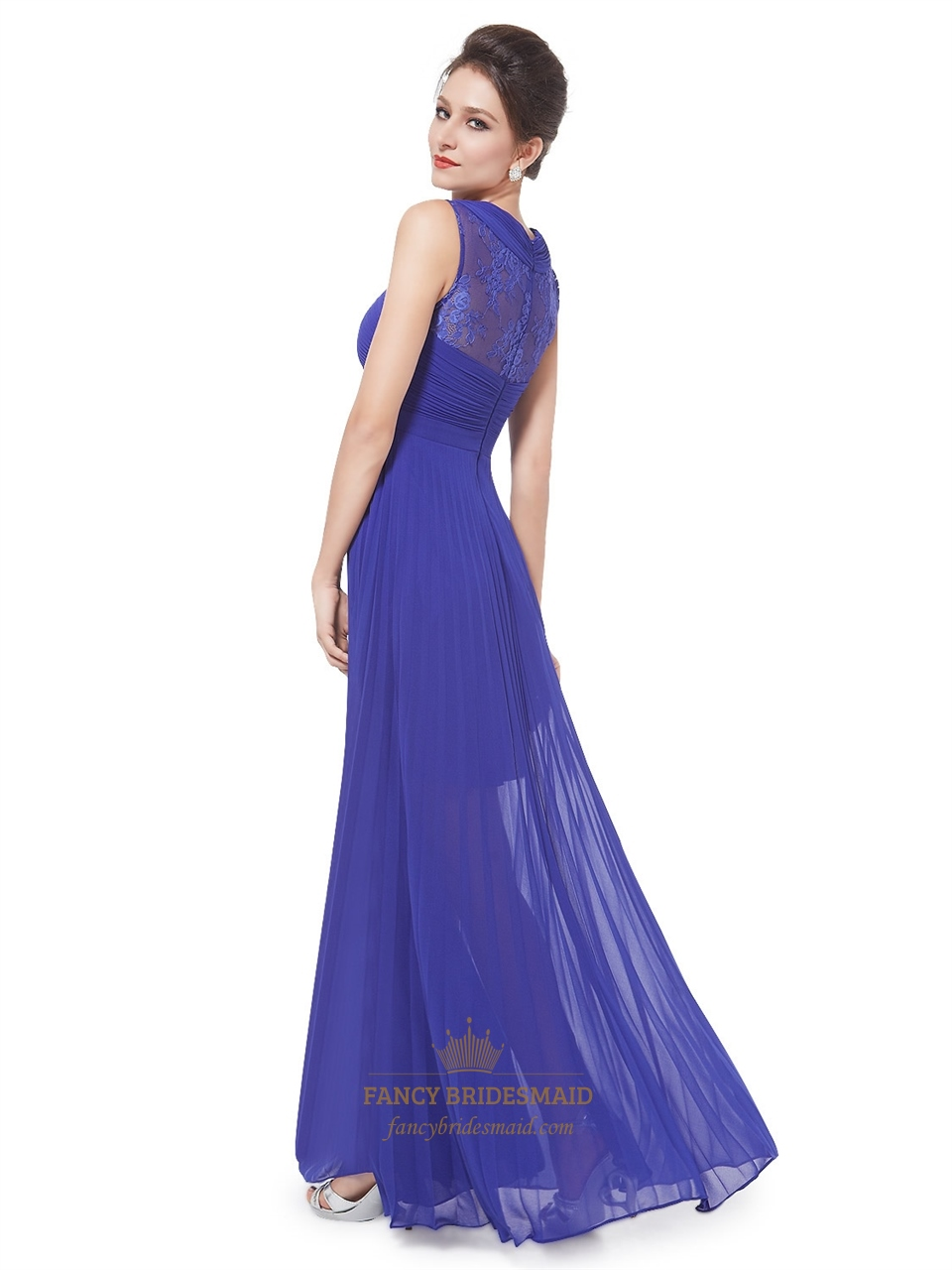 Royal Blue Pleated Maxi DressWomens Elegant Sheer Lace Long Party Dress