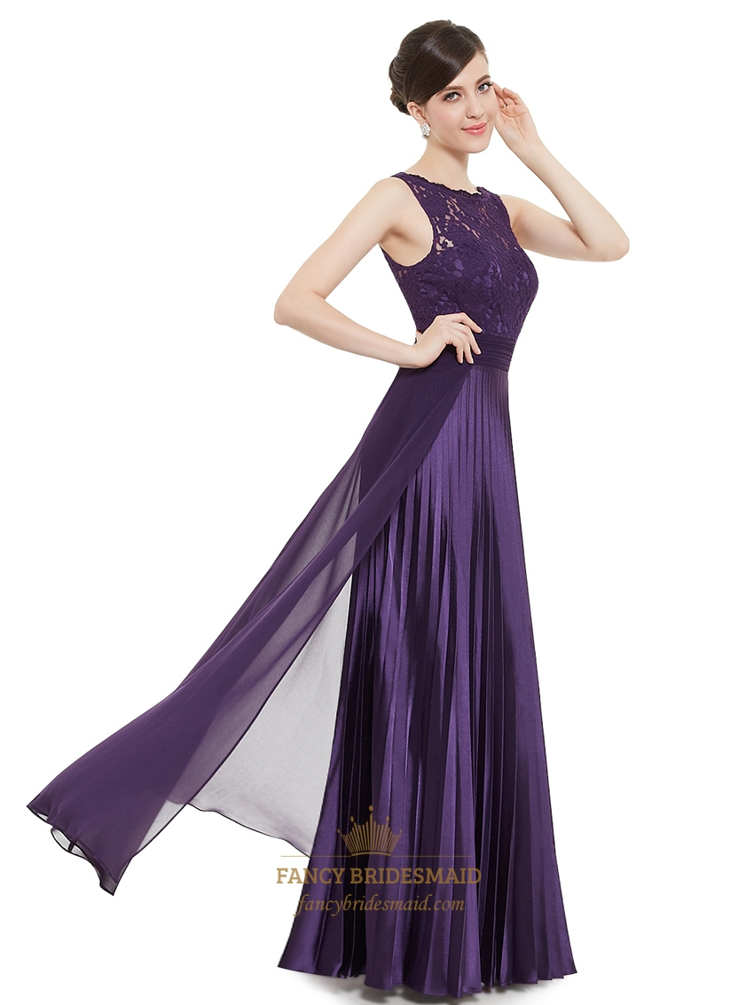 Eggplant Purple Chiffon Sleeveless Lace Bodice Bridesmaid Dress With ...