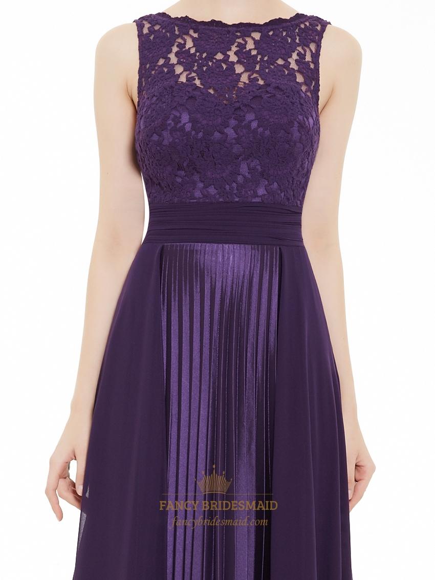 Eggplant Purple Chiffon Sleeveless Lace Bodice Bridesmaid Dress With ...