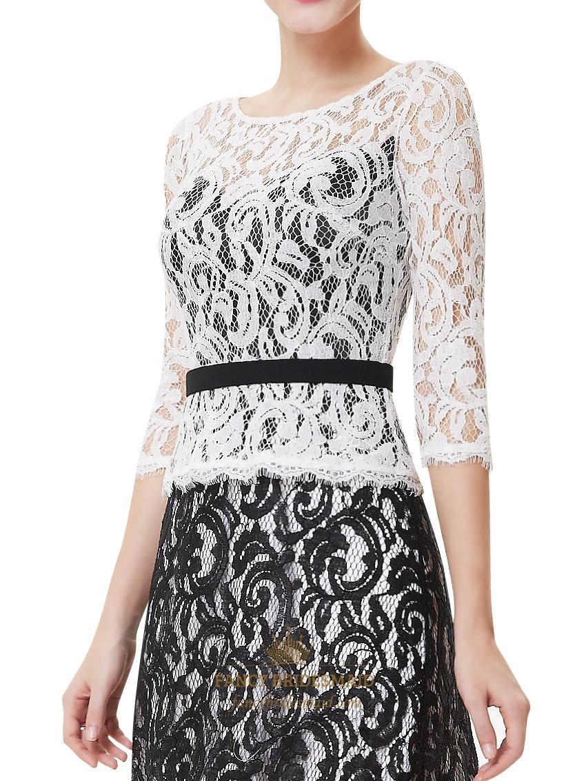 Elegant white and black three quarter sleeve lace sheath for Lace three quarter sleeve wedding dress