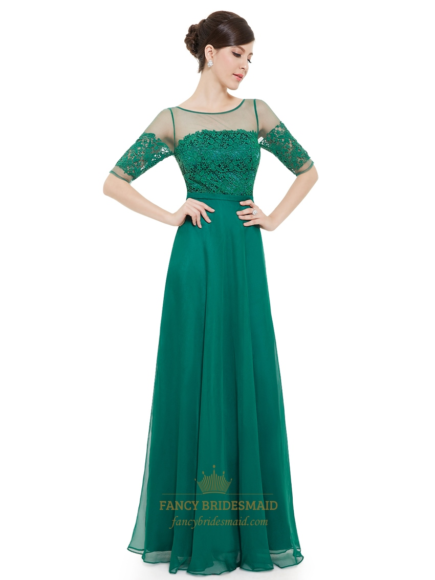 Emerald Green Chiffon Sheer Lace Top Evening Prom Dress With Half ...
