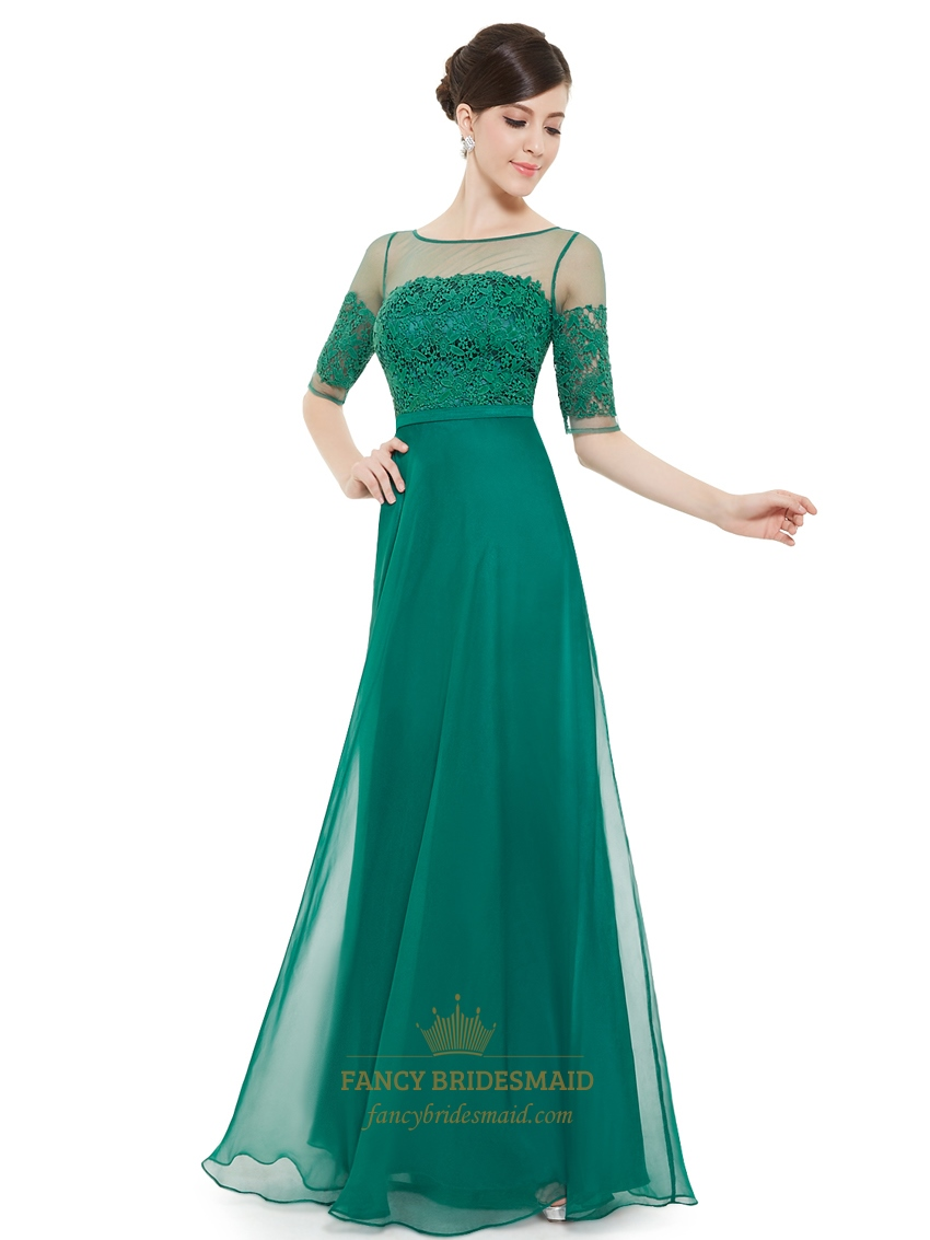 Emerald Green Chiffon Sheer Lace Top Evening Prom Dress With Half Sleeves 04b86c29a