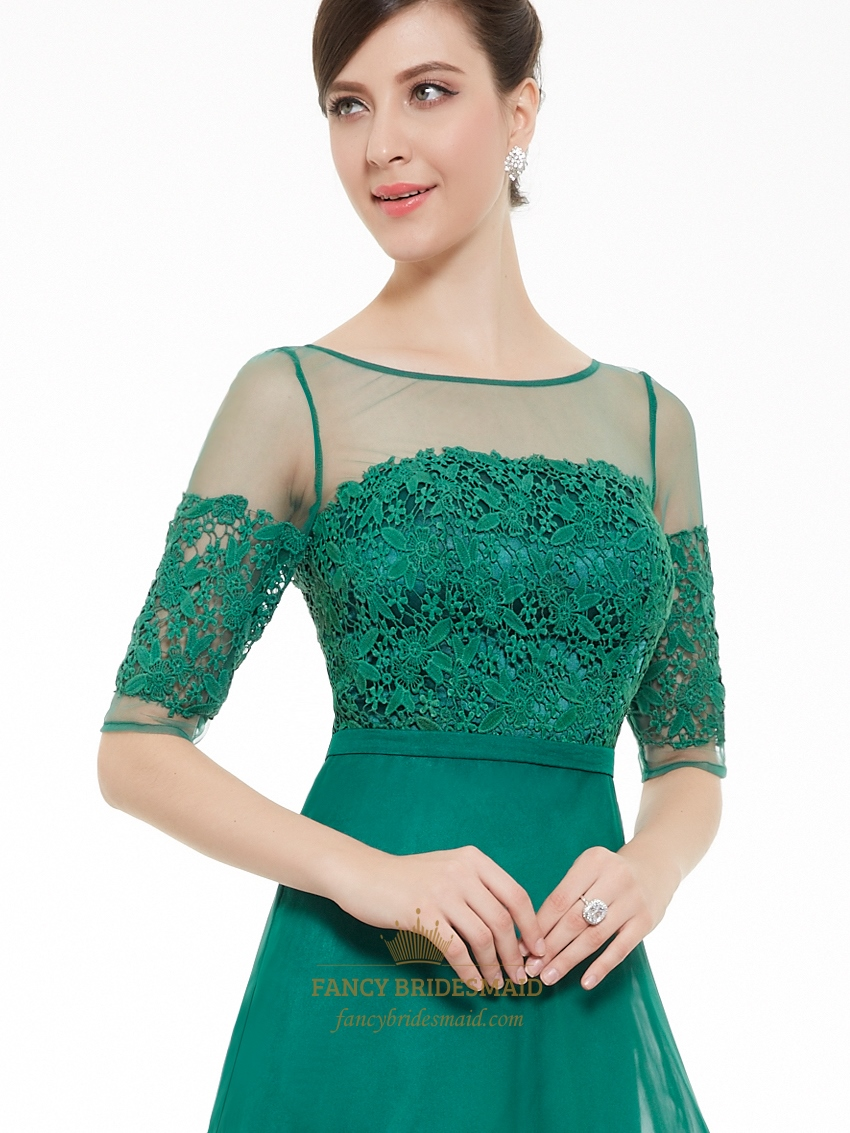 2e12146855e Emerald Green Chiffon Sheer Lace Top Evening Prom Dress With Half Sleeves