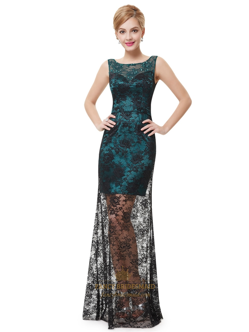 dark green and black lace overlay sleeveless prom dress