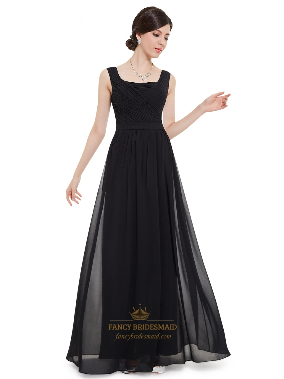Black chiffon square neck floor length bridesmaid dress with pleated black chiffon square neck floor length bridesmaid dress with pleated bodice ombrellifo Image collections