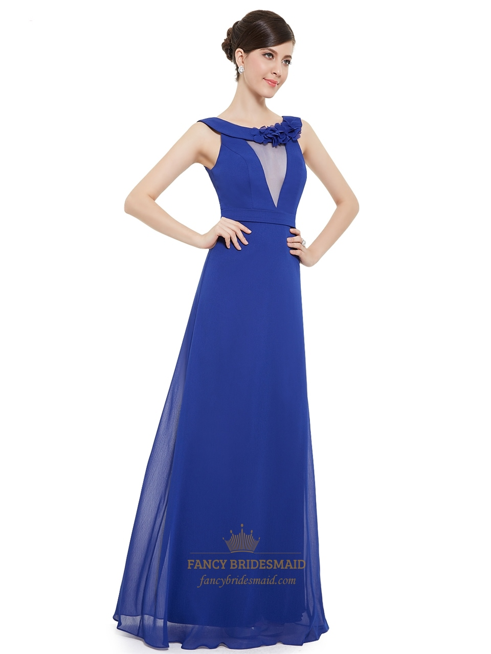 Sapphire Blue Chiffon Jewel Embellished Long Bridesmaid Dress With Floral Detail