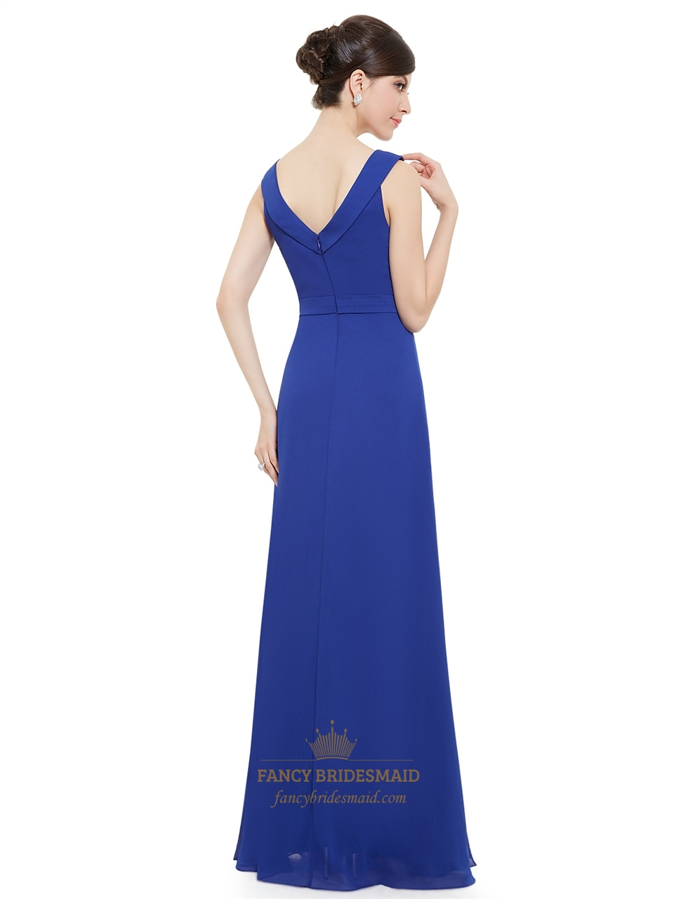 Sapphire blue chiffon jewel embellished long bridesmaid for Wedding dress with blue detail