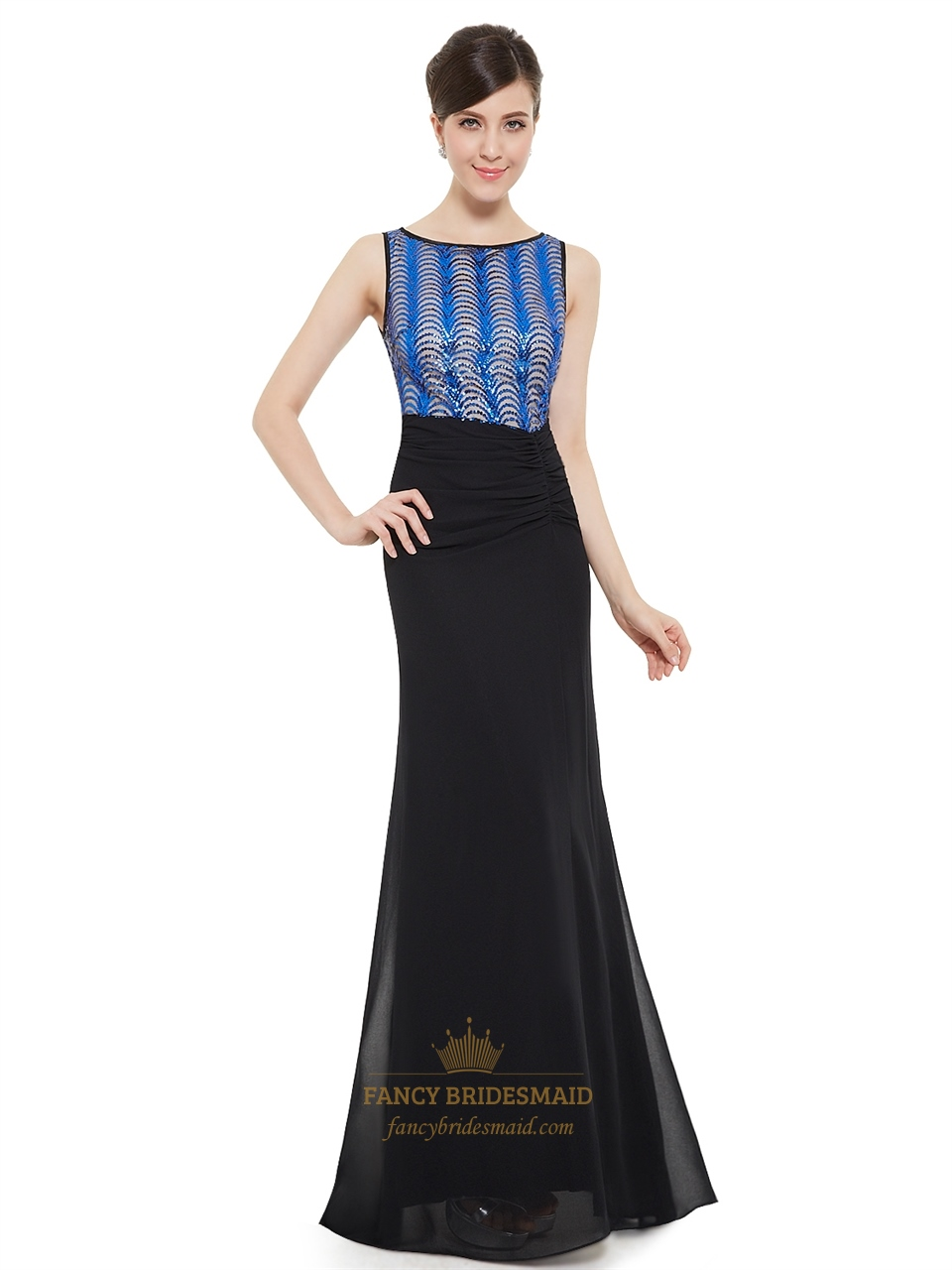 ea5310478f Sequin Bodice Chiffon Pleated Bateau Neck Instantly Slimming Black Prom  Dress