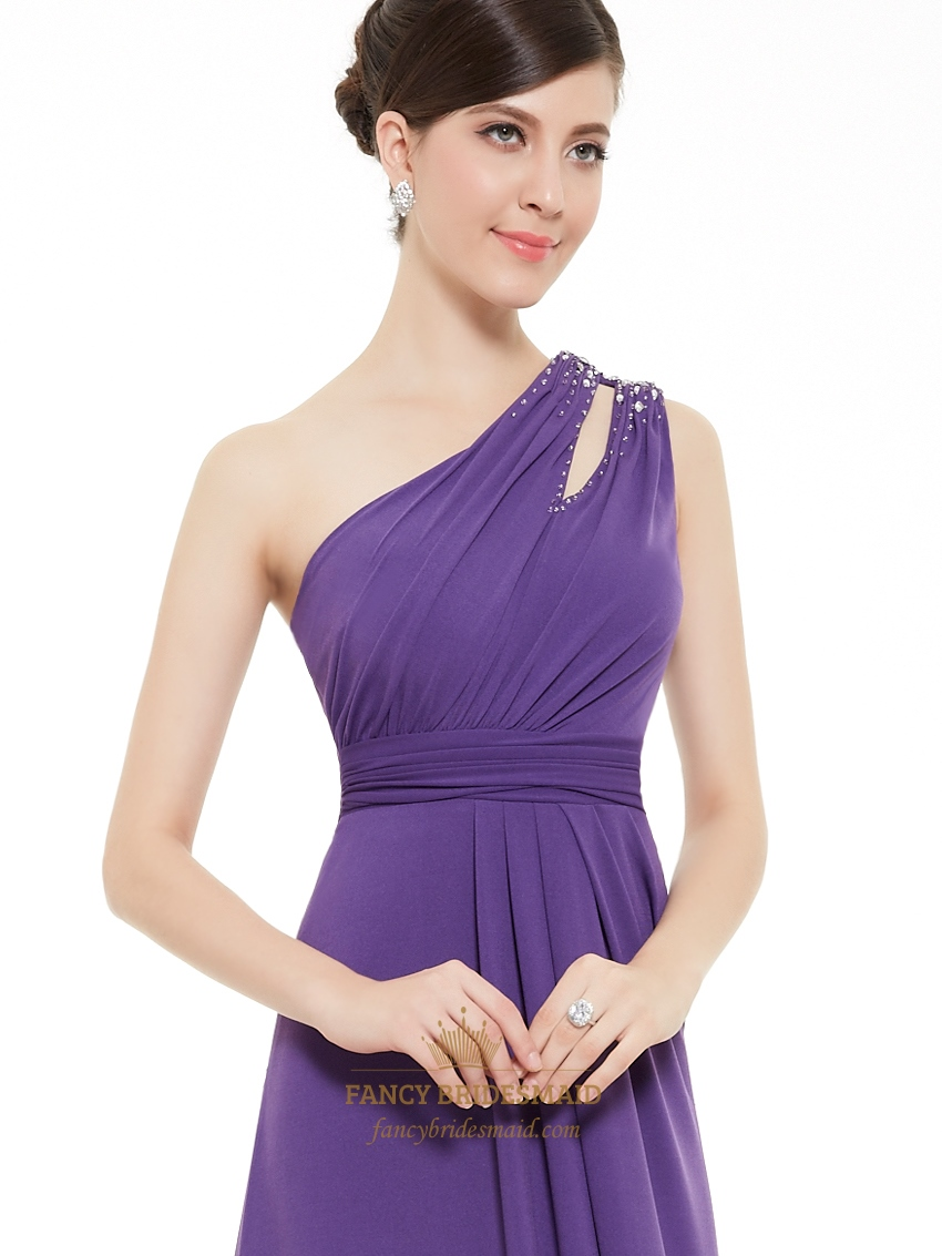Purple Embellished Cut Out One Shoulder Long Chiffon Prom ...