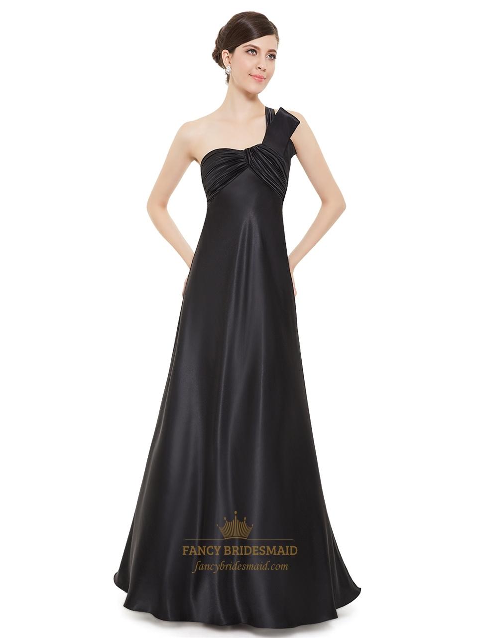 Elegant long black pleated empire waist one shoulder for Black bridesmaids dresses wedding