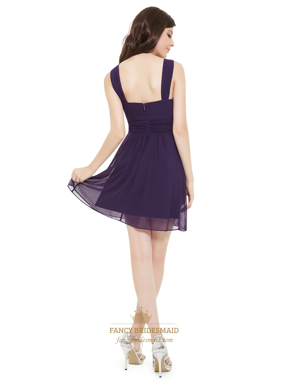 Purple Pleated Chiffon Short Flower Embellished Party Bridesmaid Dress | Fancy Bridesmaid Dresses