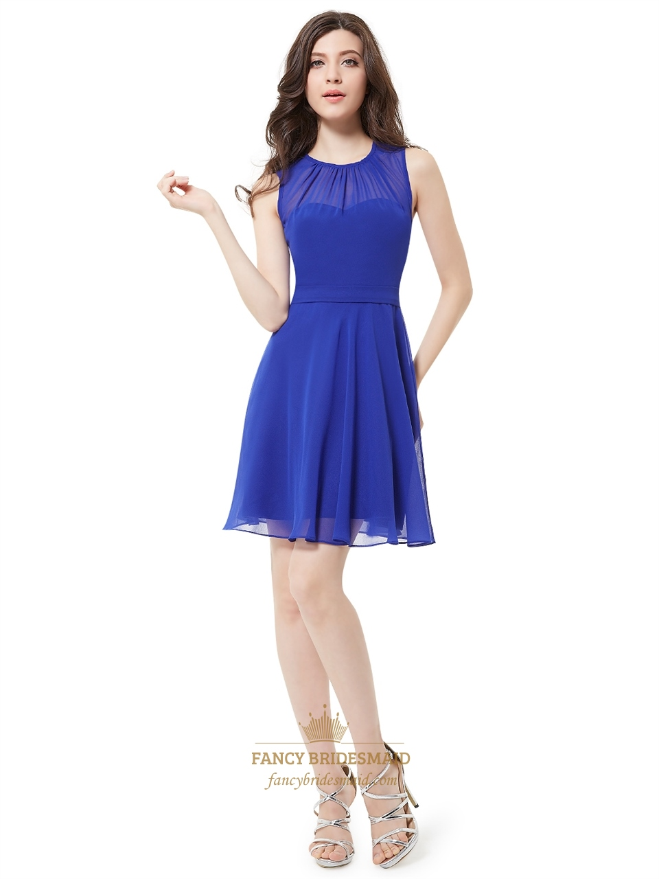Royal blue chiffon illusion neck sheer sleeveless short for Royal blue short wedding dresses