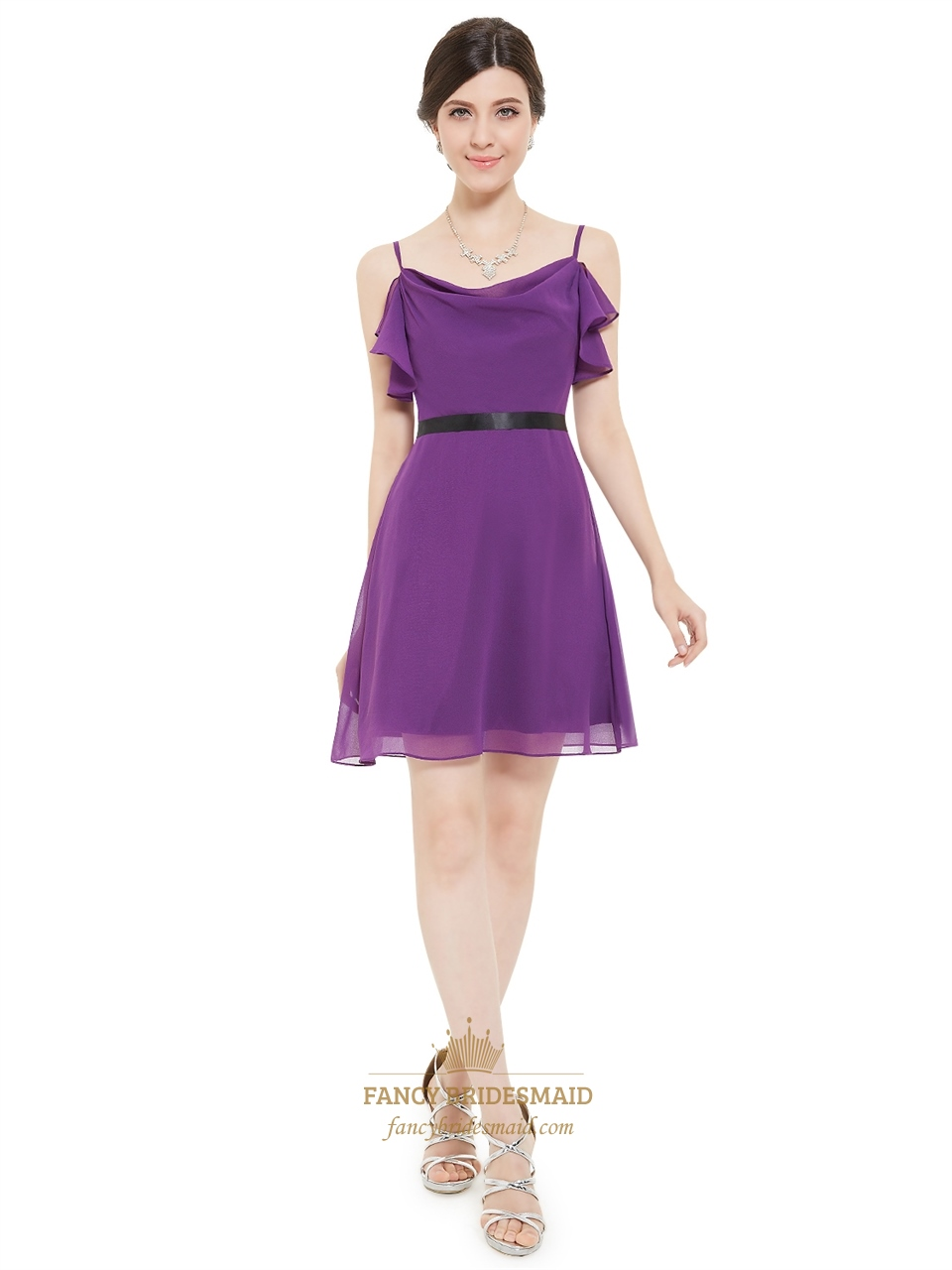 607e2cbcb51e Violet Chiffon A-Line Spaghetti Strap Chiffon Cocktail Dress With Black Belt  SKU -F618