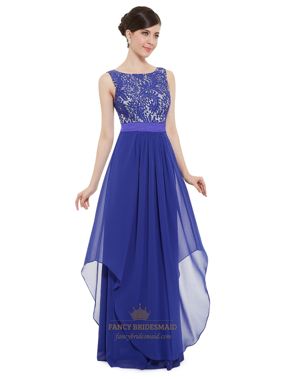 9b8225eab804 Illusion Sleeveless Lace Bodice Chiffon Navy Blue Bridesmaid Dress With Belt