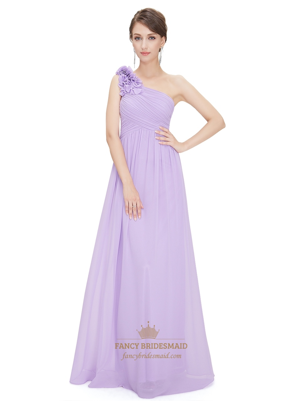 907b86cd4 Lilac Chiffon One Shoulder Bridesmaid Dress With Flower Shoulder Strap SKU  -F622