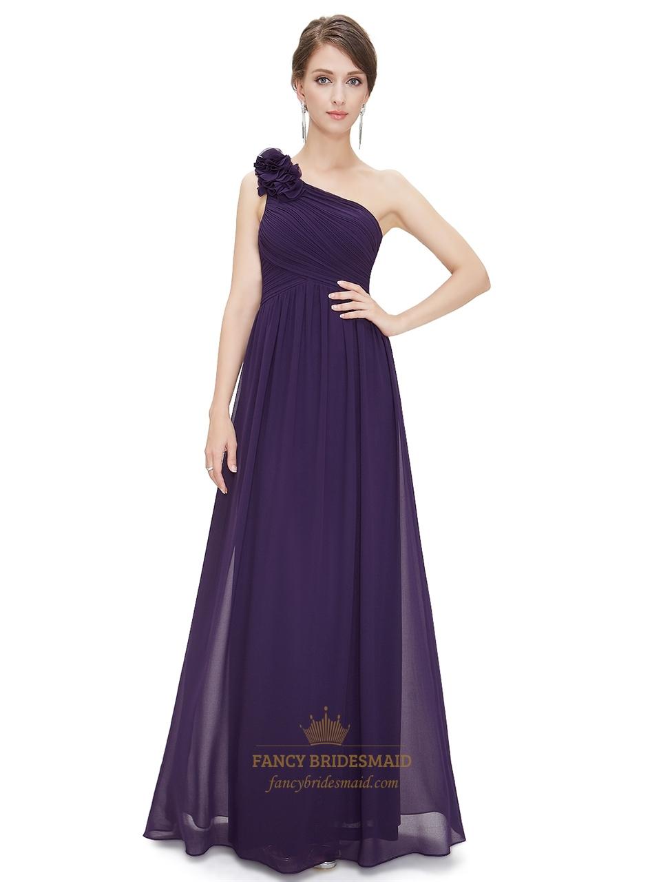 Lilac chiffon one shoulder bridesmaid dress with flower shoulder lilac chiffon one shoulder bridesmaid dress with flower shoulder strap ombrellifo Gallery