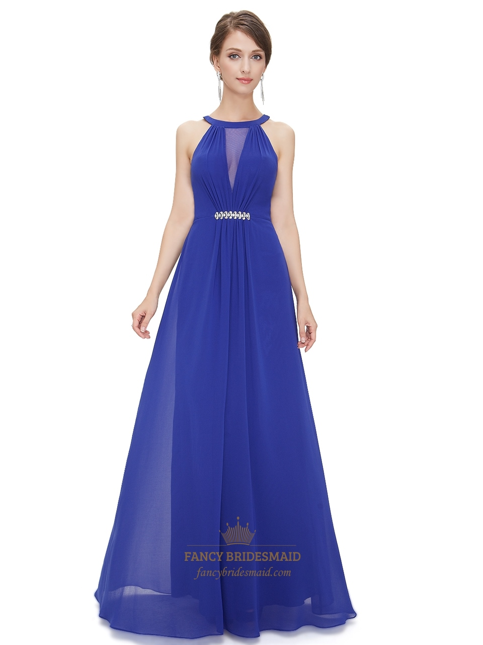 Deep V-Neck Ruched Bodice Sapphire Blue Chiffon Bridesmaid Dress ...