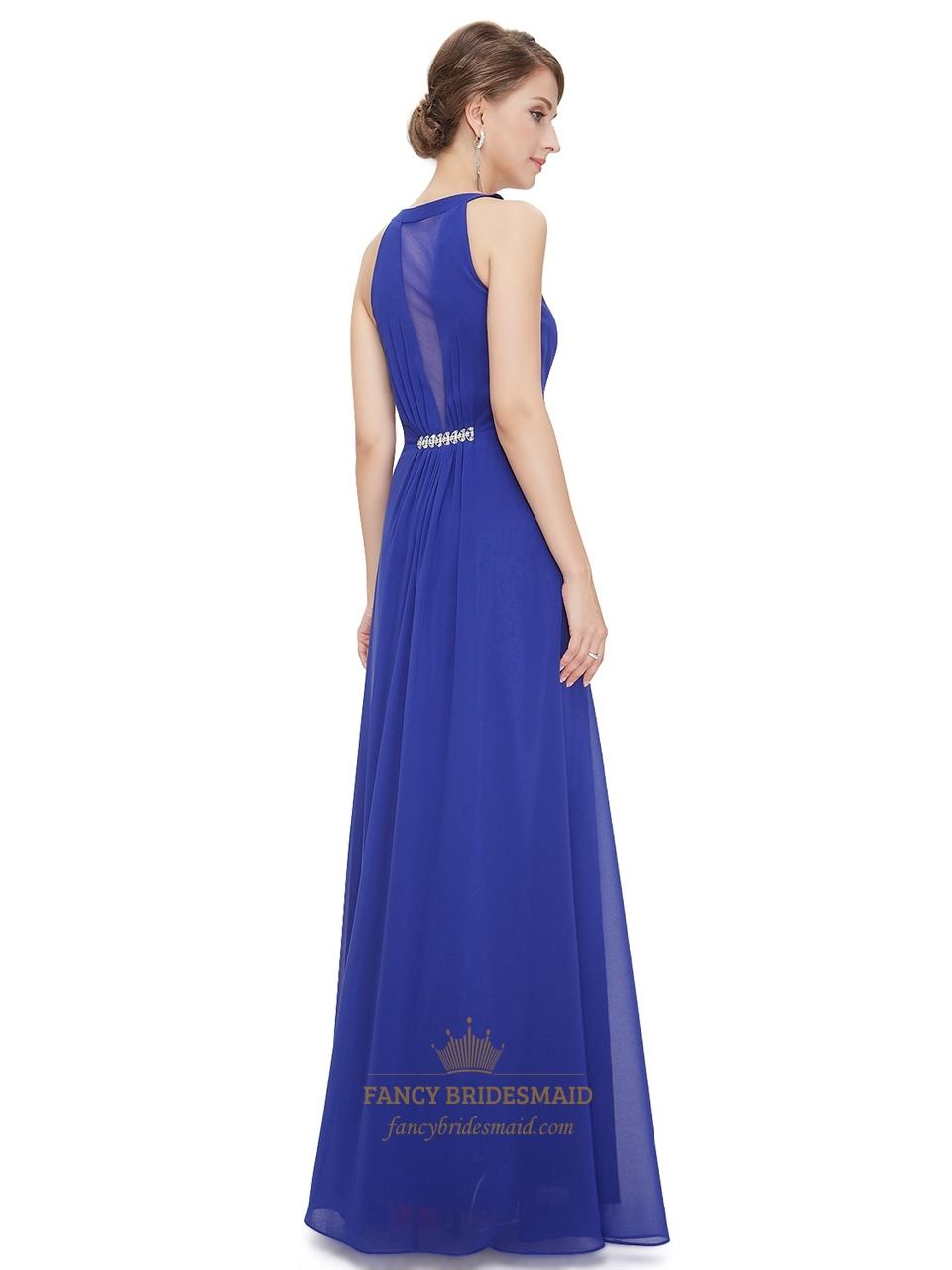 deep vneck ruched bodice sapphire blue chiffon bridesmaid
