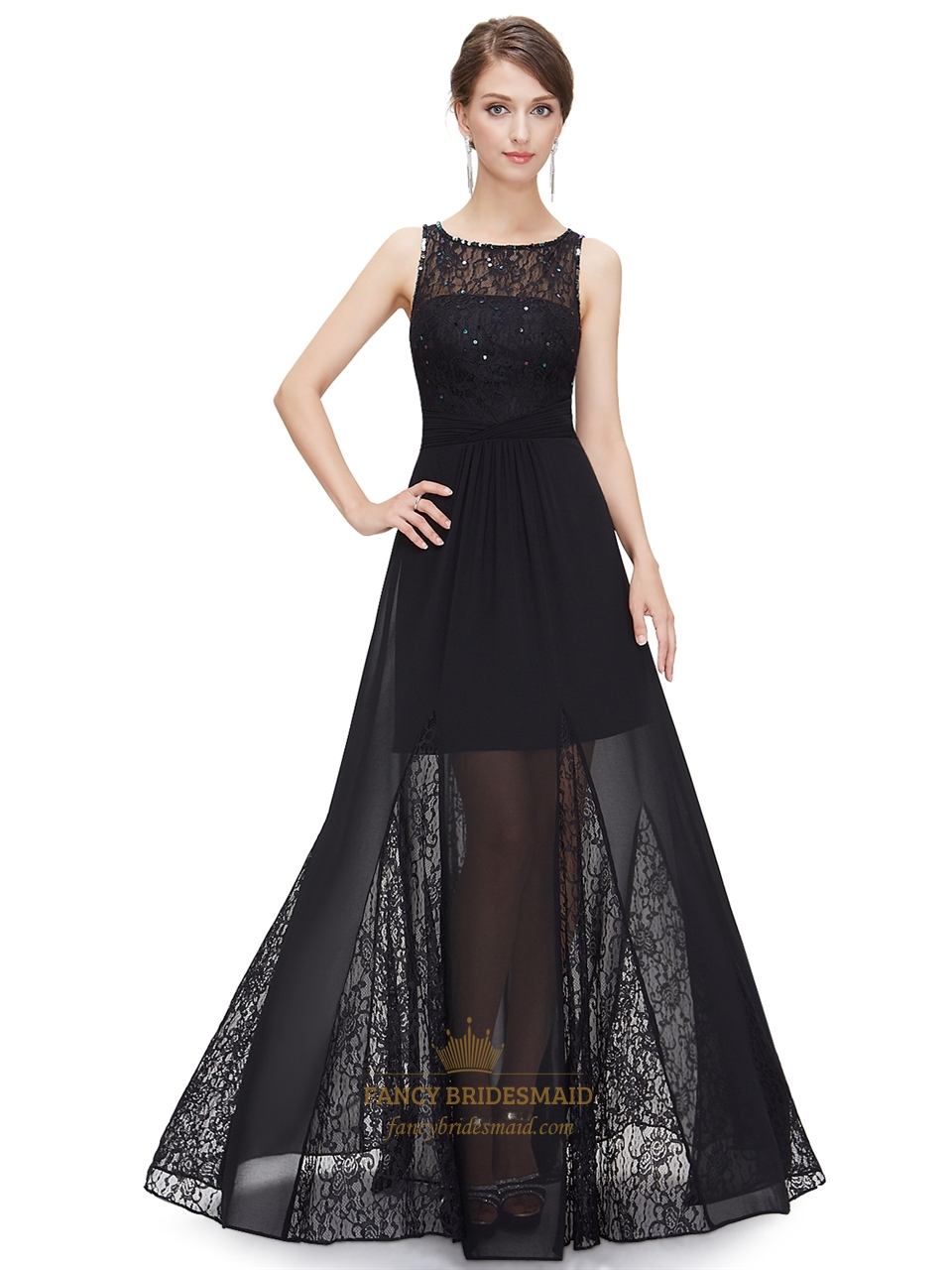 Black sleeveless beaded prom dress with lace and silk chiffon black sleeveless beaded prom dress with lace and silk chiffon overlay ombrellifo Image collections