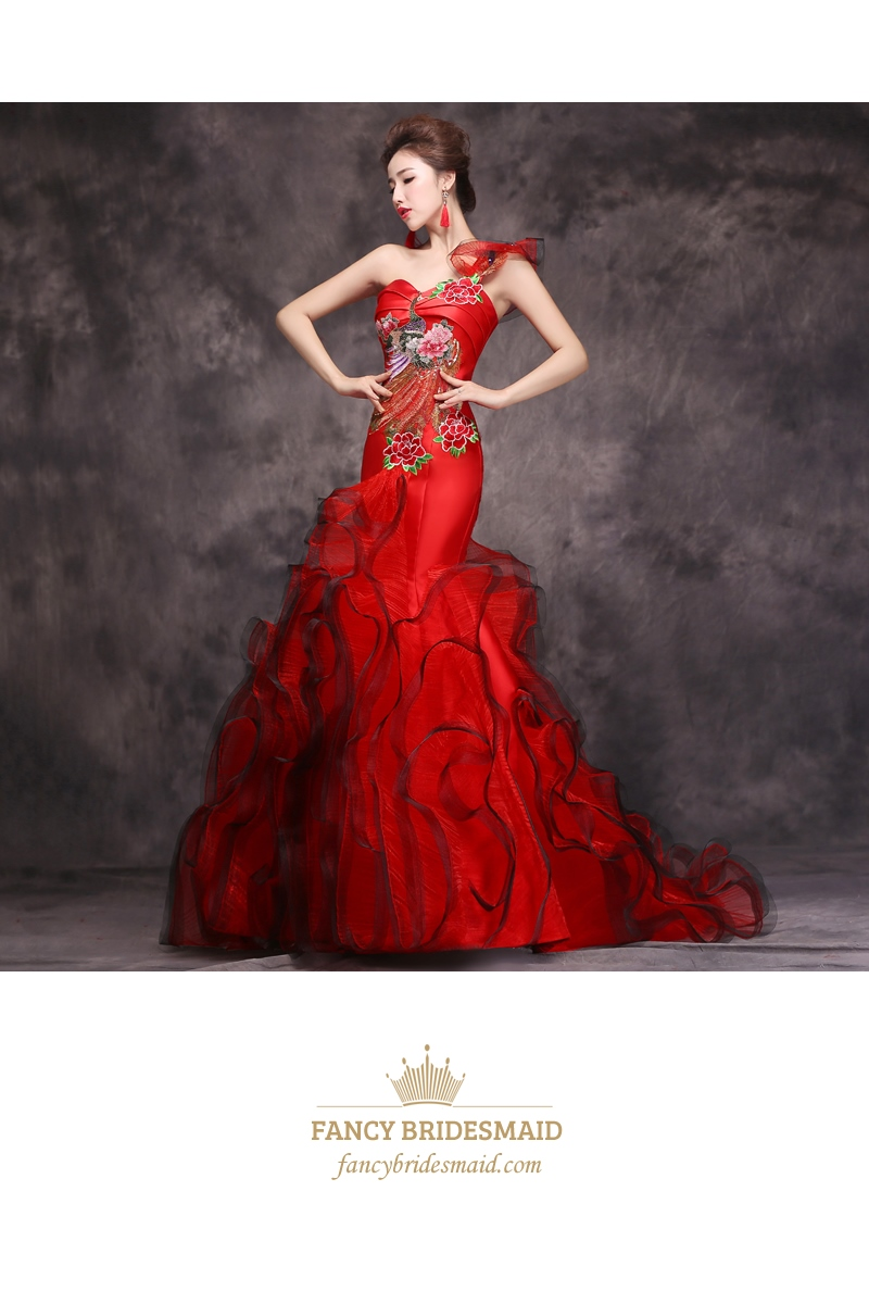 One Shoulder Red Embroidered Mermaid Ball Gown Prom Dress With