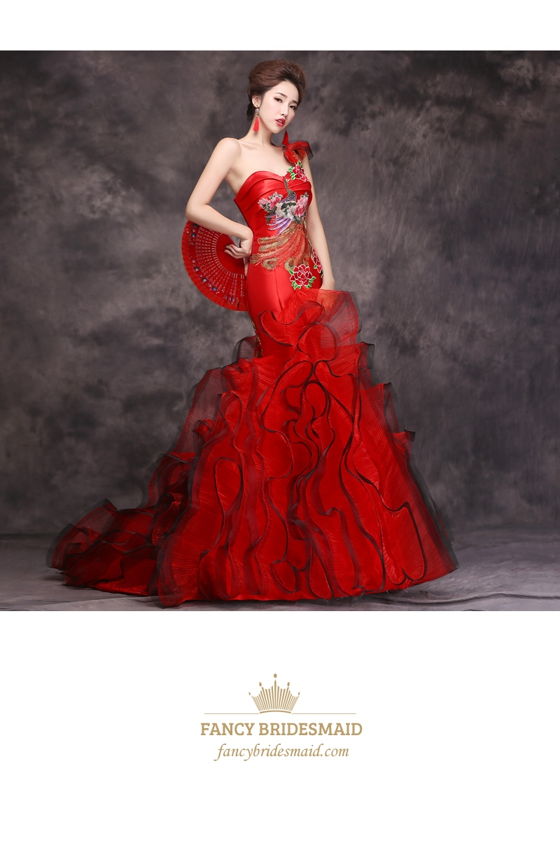 One Shoulder Red Embroidered Mermaid Ball Gown Prom Dress