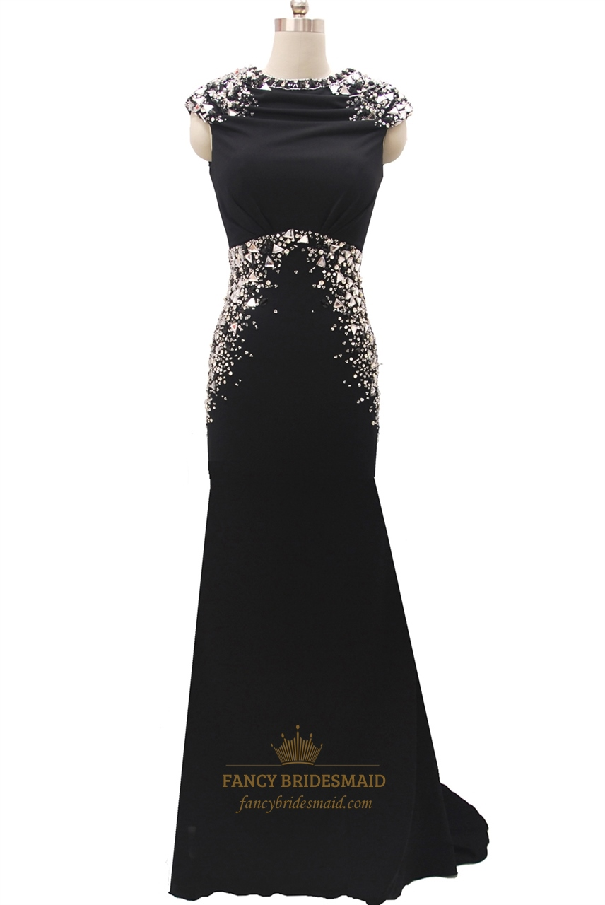 black mermaid cap sleeve high neck open back long prom