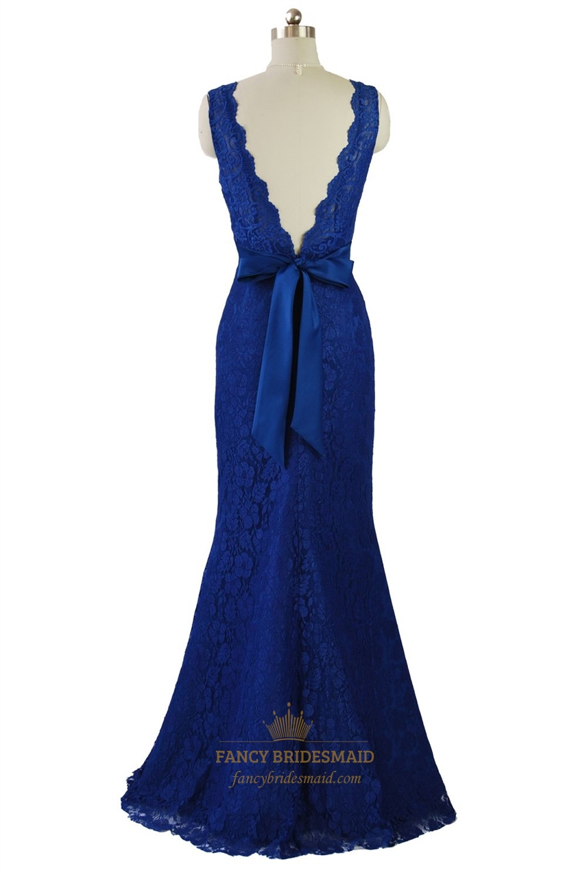 Royal Blue Deep V-Neckline Sleeveless Mermaid Floor Length ...
