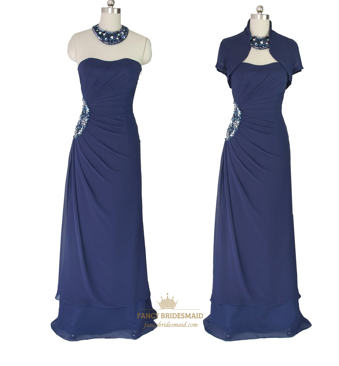 Navy Blue Strapless Beaded Mother Of The Bride Dress With Bolero