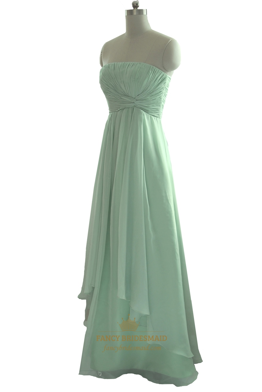 Mint Green Strapless Pleated Bodice Chiffon Bridesmaid