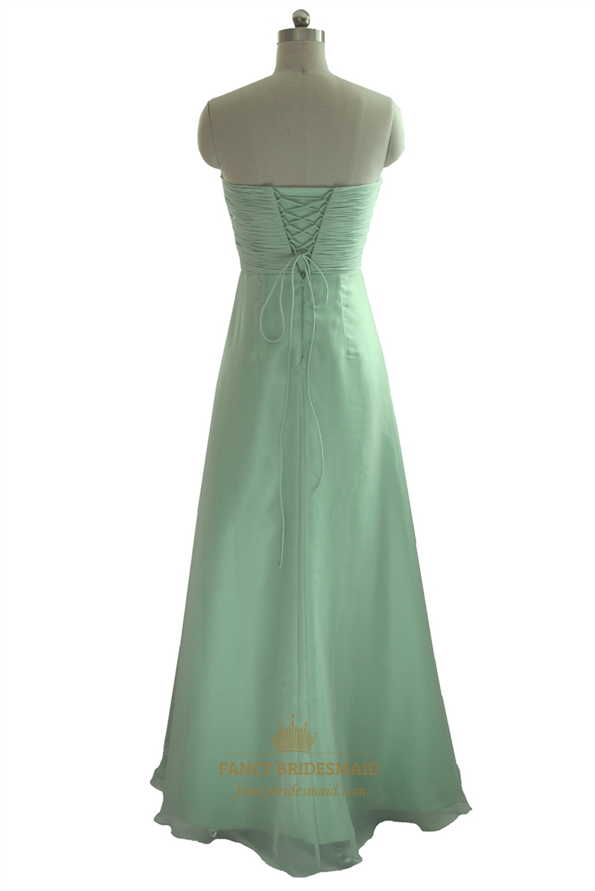 mint green strapless pleated bodice chiffon bridesmaid