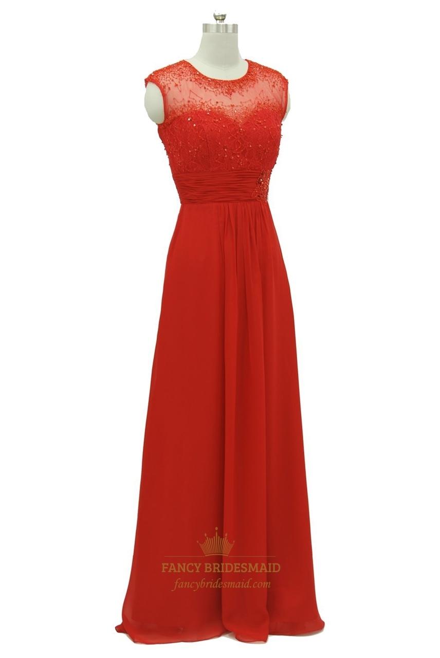 Red Lace Bodice Open Back Chiffon Long Prom Dress Fancy