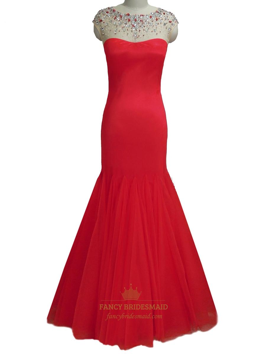 Red Beaded Neckline Mermaid Cap Sleeve Ruffled Prom Dress