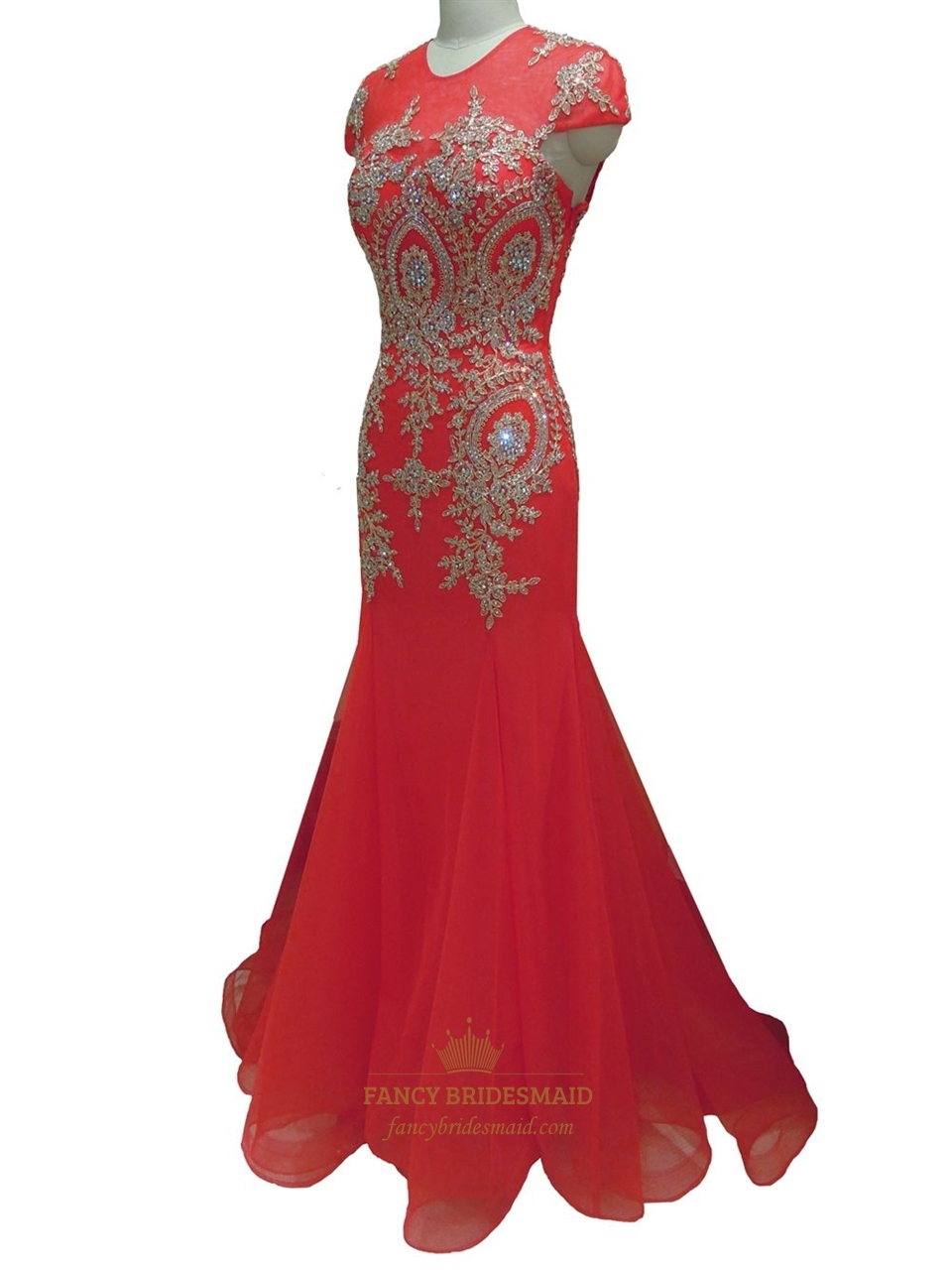 Red Lace Applique Cap Sleeve Mermaid Chiffon Prom Dress ...