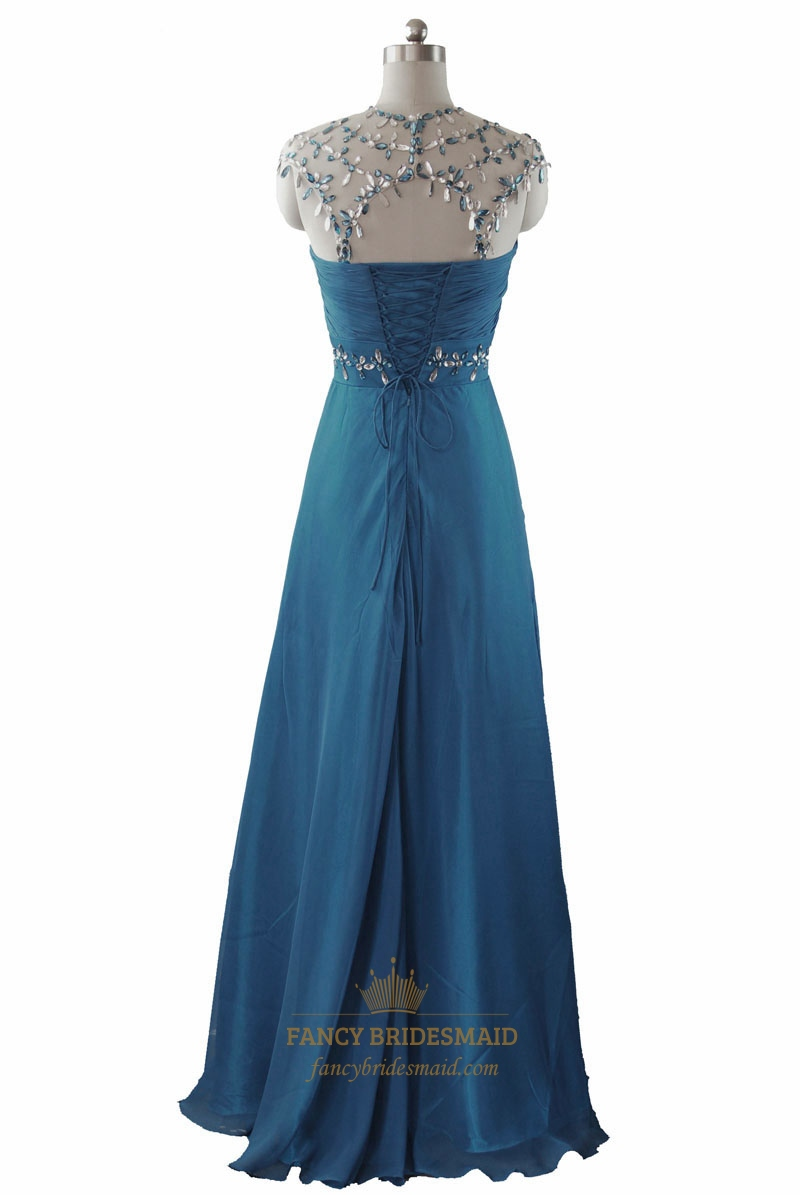 Teal Beaded Mermaid Cap Sleeve Ruched Long Prom Dress | Fancy ...