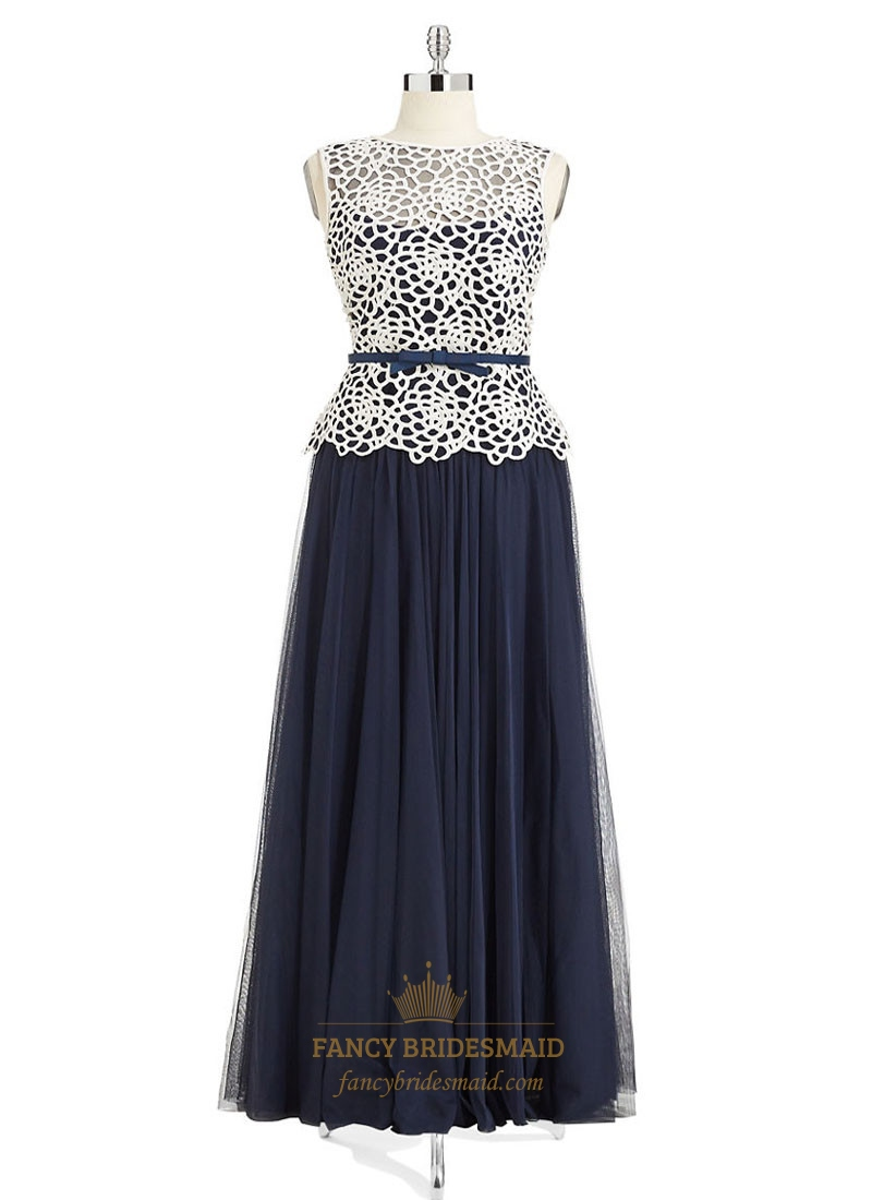 Navy blue two tone bateau hollow out chiffon maxi dress for Navy blue maxi dress for wedding
