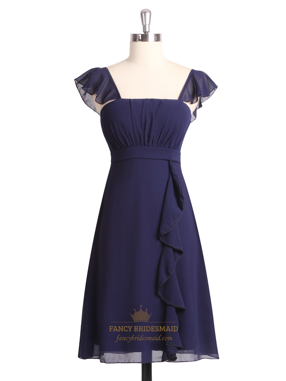 33be5d239b2 Navy Blue Short Chiffon Pleated Bridesmaid Dress With Flutter Sleeve SKU  -NW391
