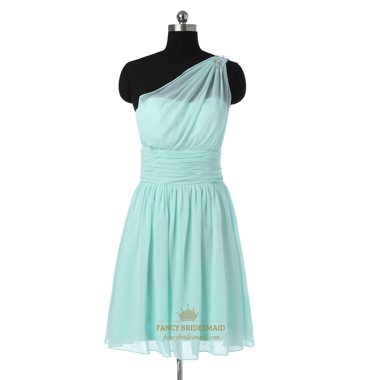 mint one shoulder beaded straps short chiffon bridesmaid